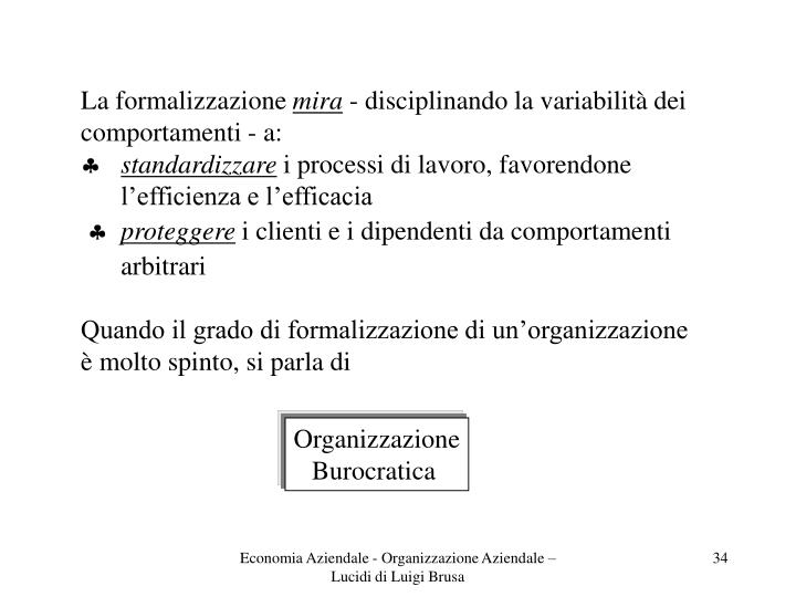 La formalizzazione