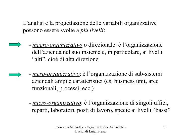 L'analisi e la progettazione delle variabili organizzative