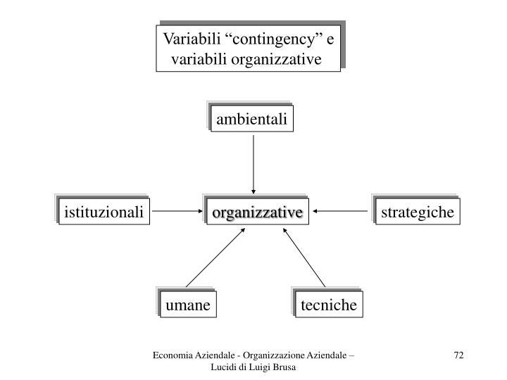 """Variabili """"contingency"""" e"""