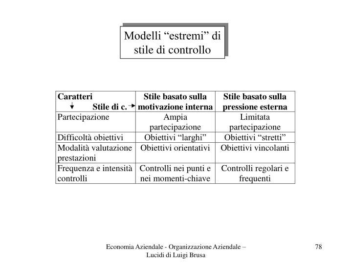 """Modelli """"estremi"""" di"""