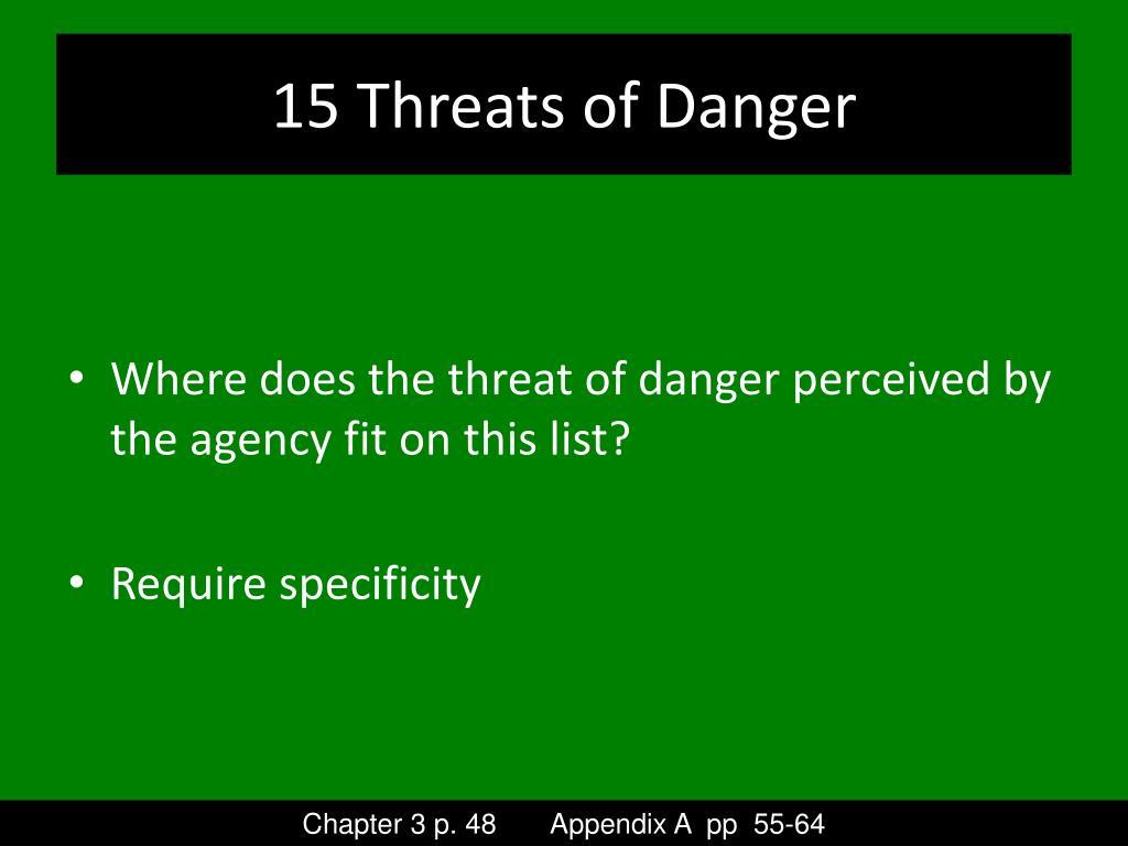 15 Threats of Danger