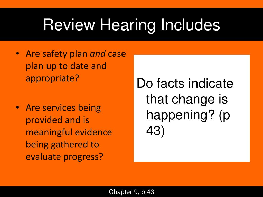 Review Hearing Includes