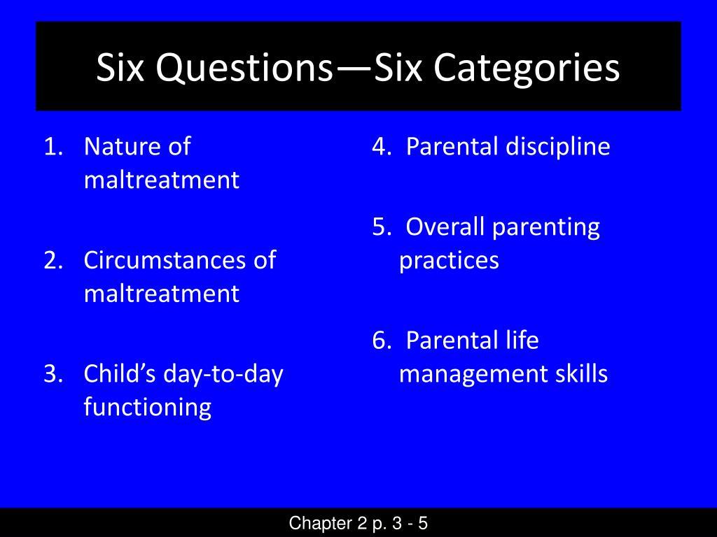 Six Questions—Six Categories