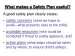 what makes a safety plan useful