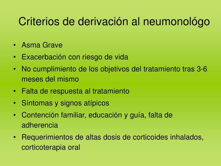 Criterios de derivación al neumonológo