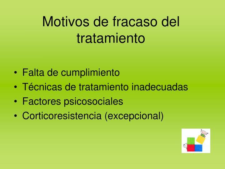 Motivos de fracaso del tratamiento