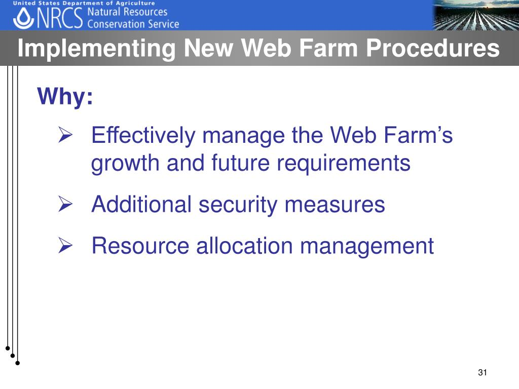 Implementing New Web Farm Procedures