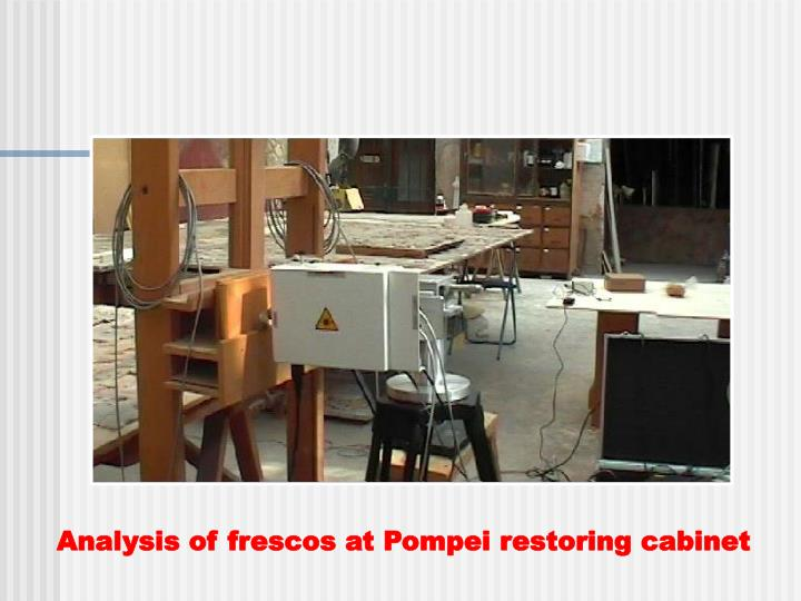 Analysis of frescos at Pompei restoring cabinet