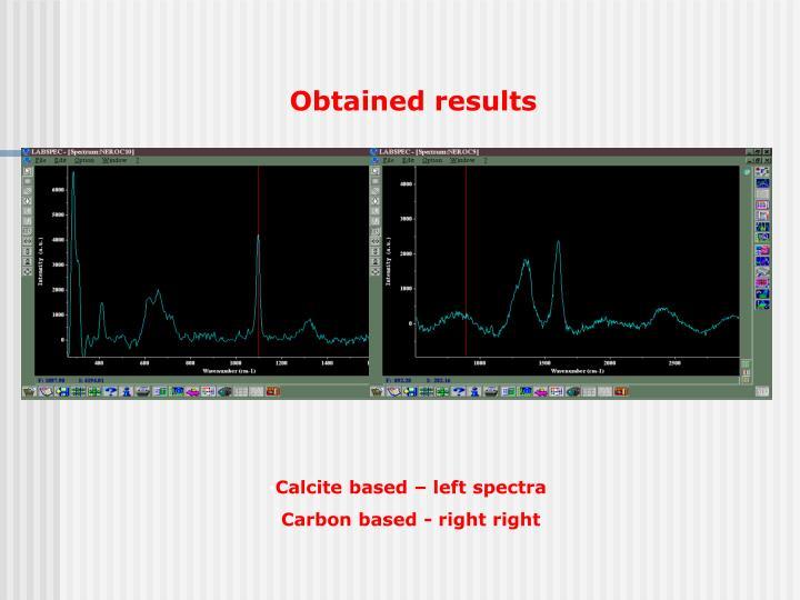 Calcite based – left spectra