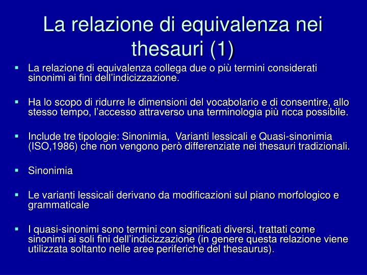 La relazione di equivalenza nei thesauri (1)