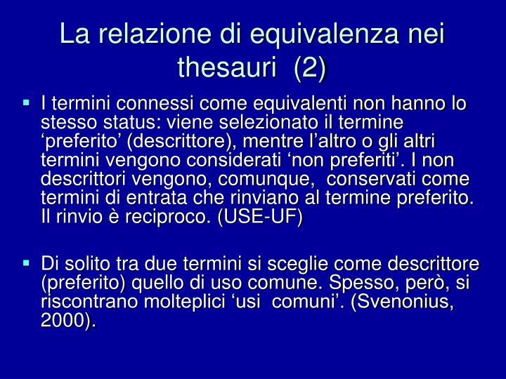La relazione di equivalenza nei thesauri  (2)