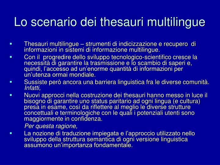 Lo scenario dei thesauri multilingue