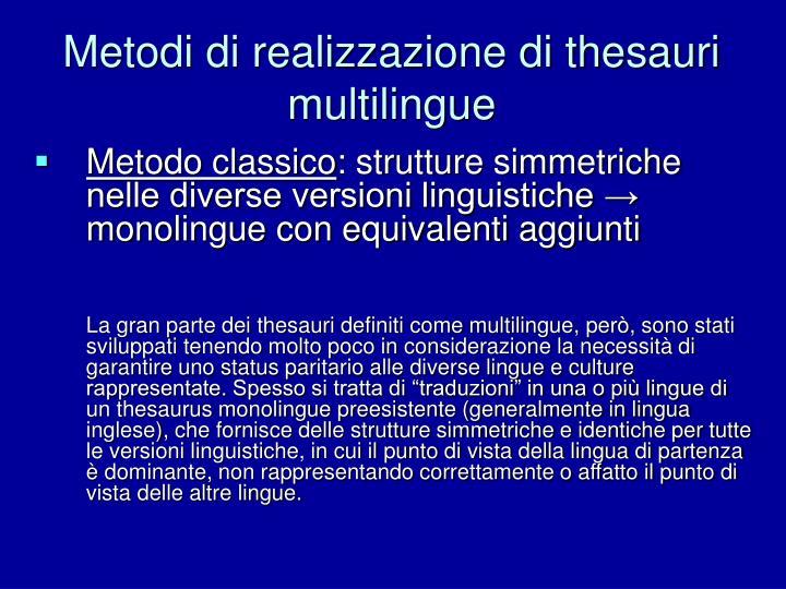 Metodi di realizzazione di thesauri multilingue