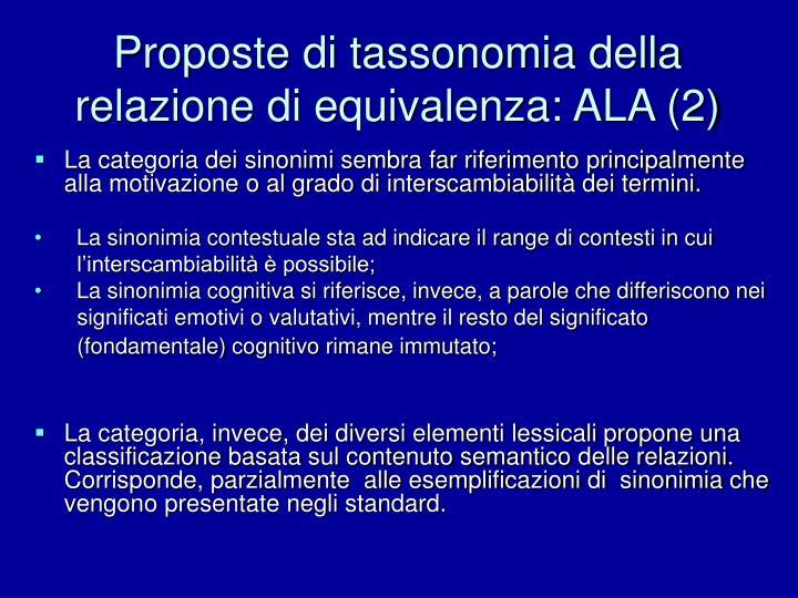 Proposte di tassonomia della relazione di equivalenza: ALA (2)