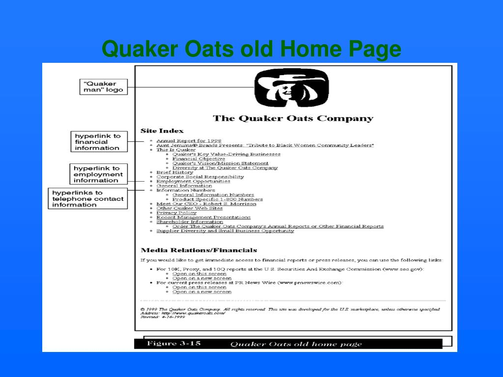 Quaker Oats old Home Page
