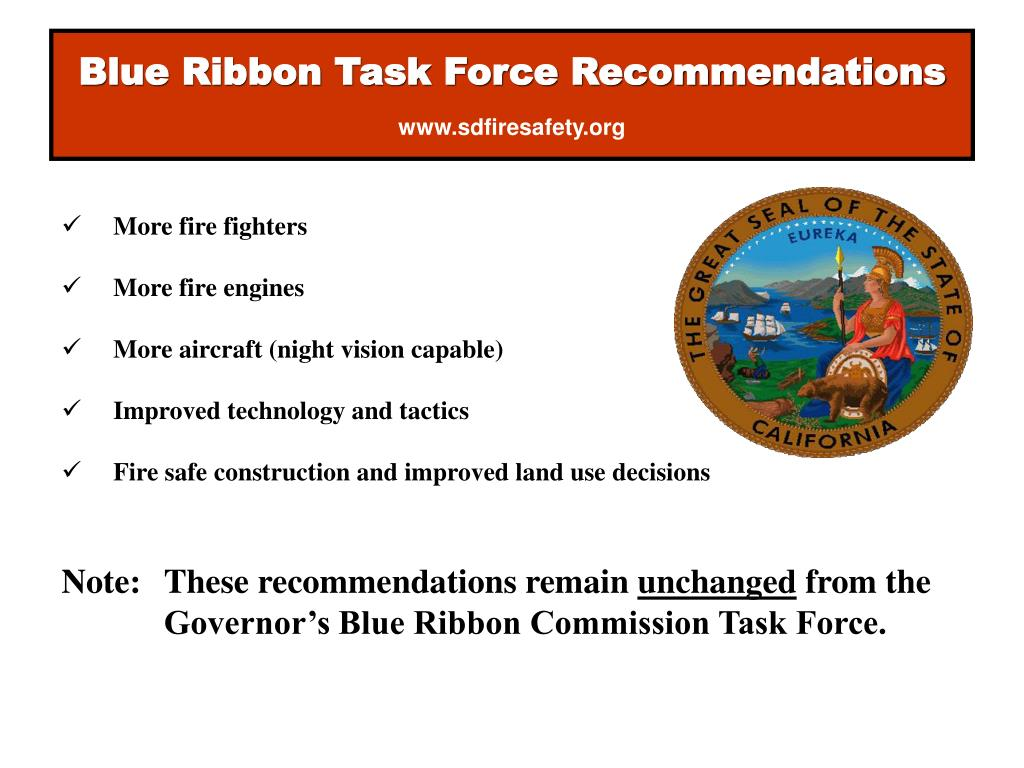 Blue Ribbon Task Force Recommendations