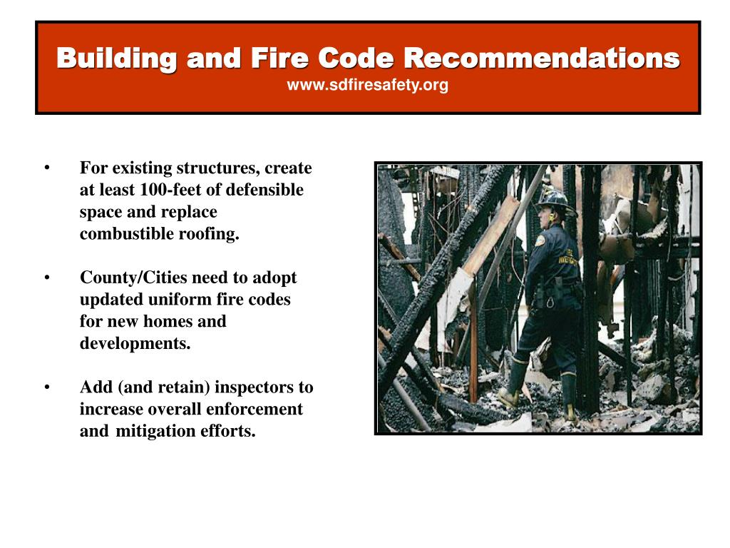 Building and Fire Code Recommendations