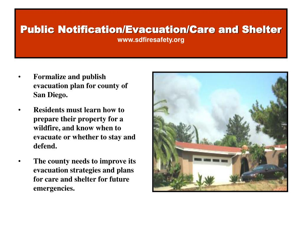 Public Notification/Evacuation/Care and Shelter