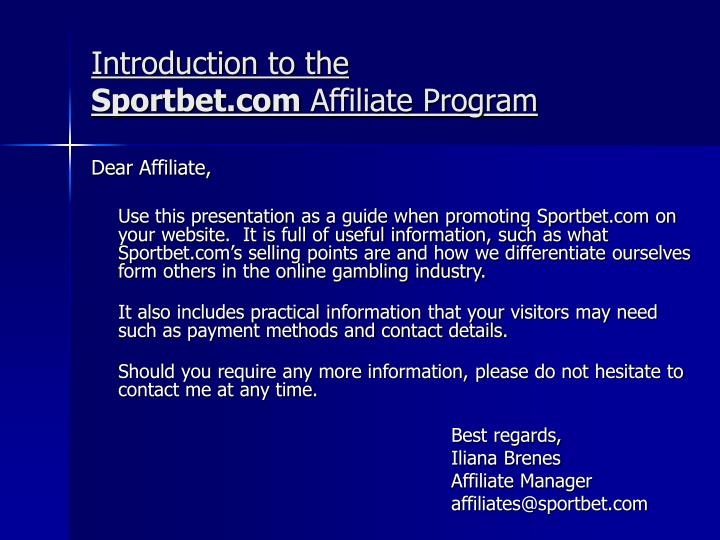 Introduction to the sportbet com affiliate program