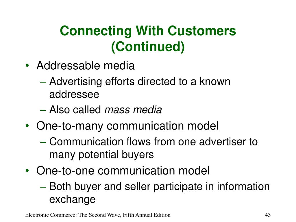 Connecting With Customers (Continued)