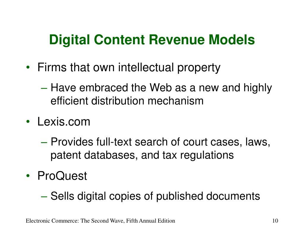 Digital Content Revenue Models