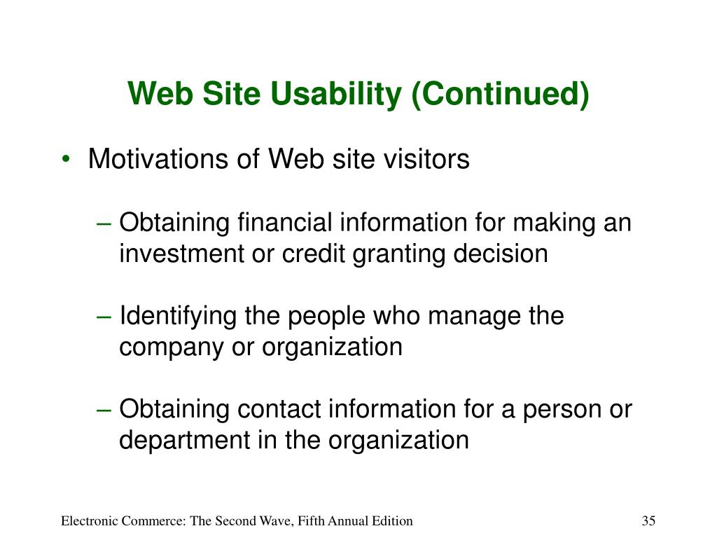 Web Site Usability (Continued)