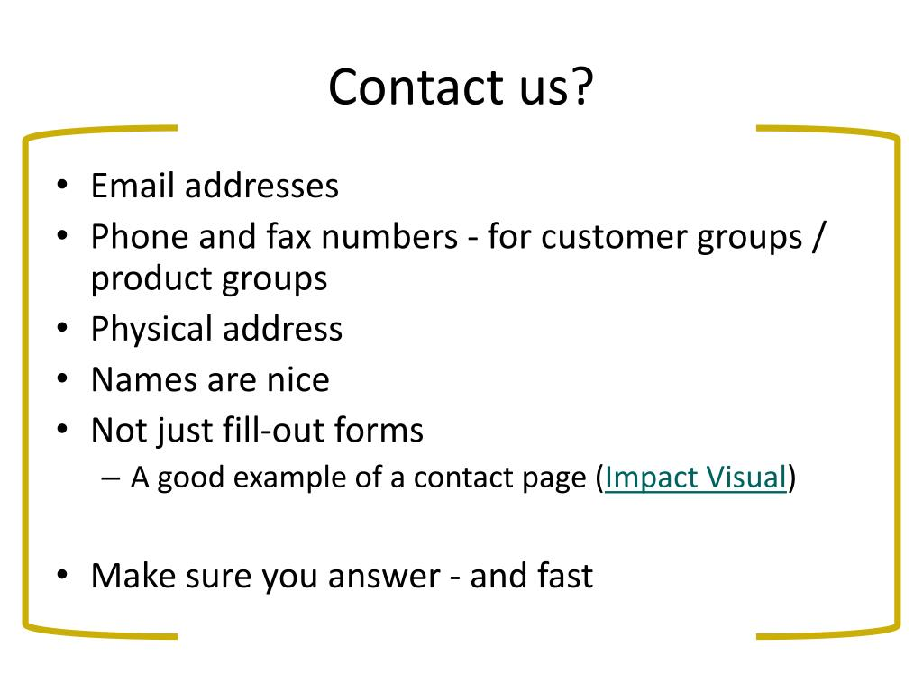Contact us?