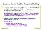 customer centric web site design and usability
