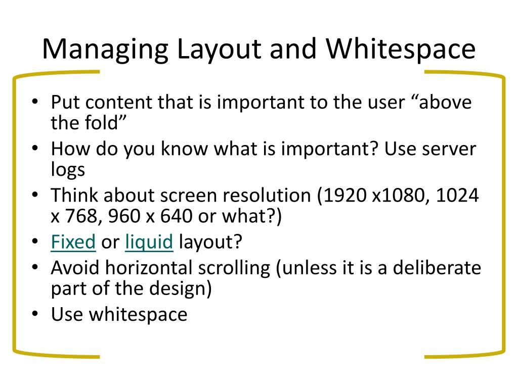 Managing Layout and Whitespace