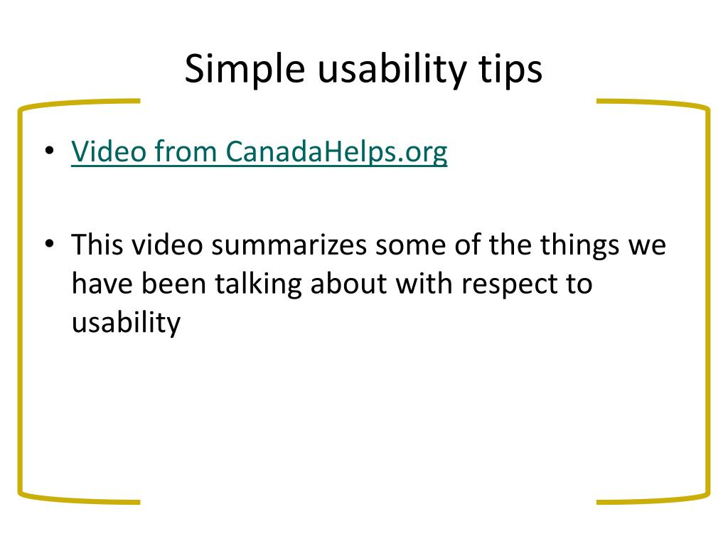 Simple usability tips