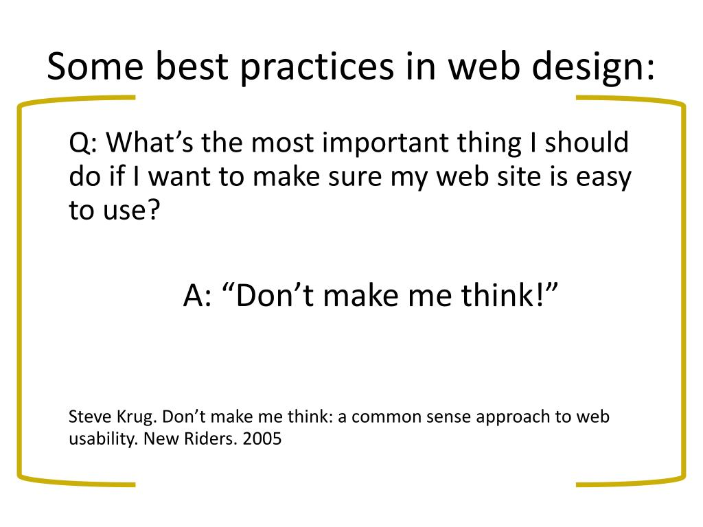 Some best practices in web design: