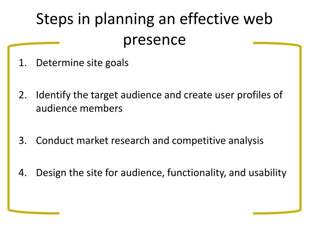 Steps in planning an effective web presence