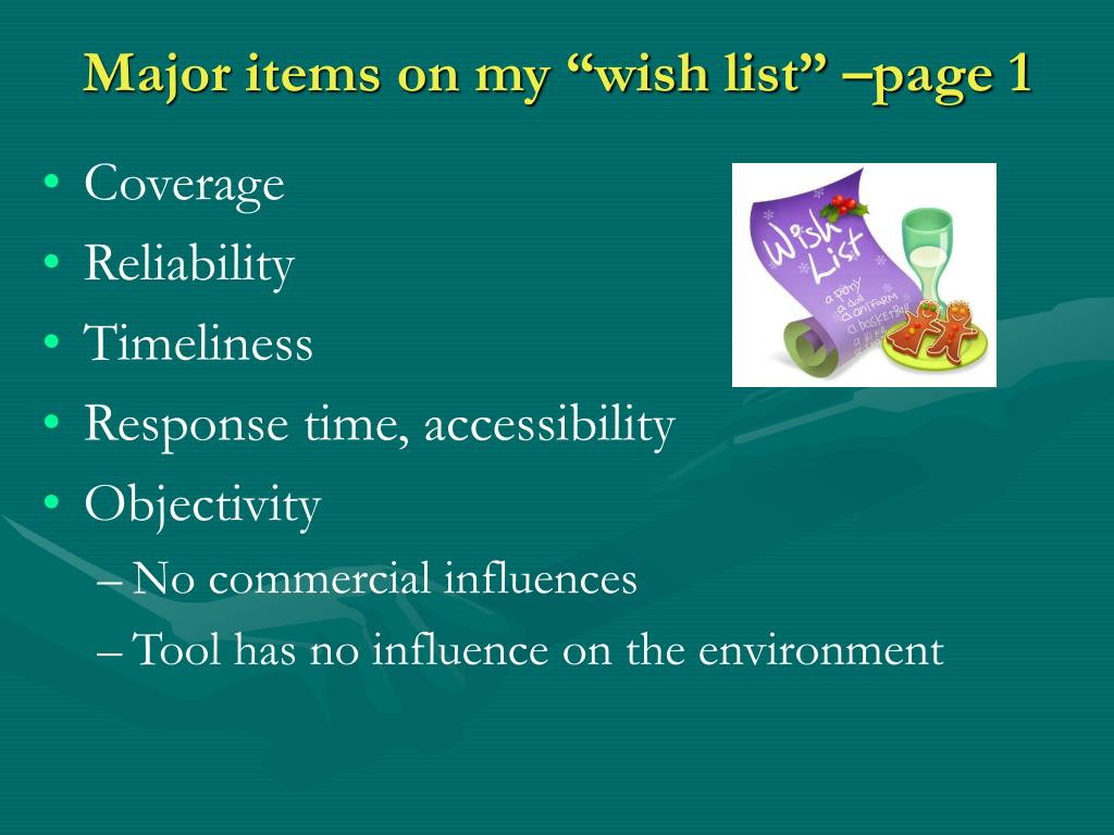 """Major items on my """"wish list"""" –page 1"""