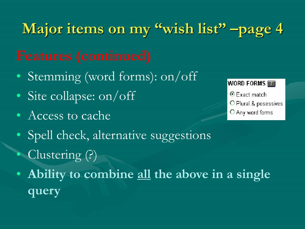 """Major items on my """"wish list"""" –page 4"""