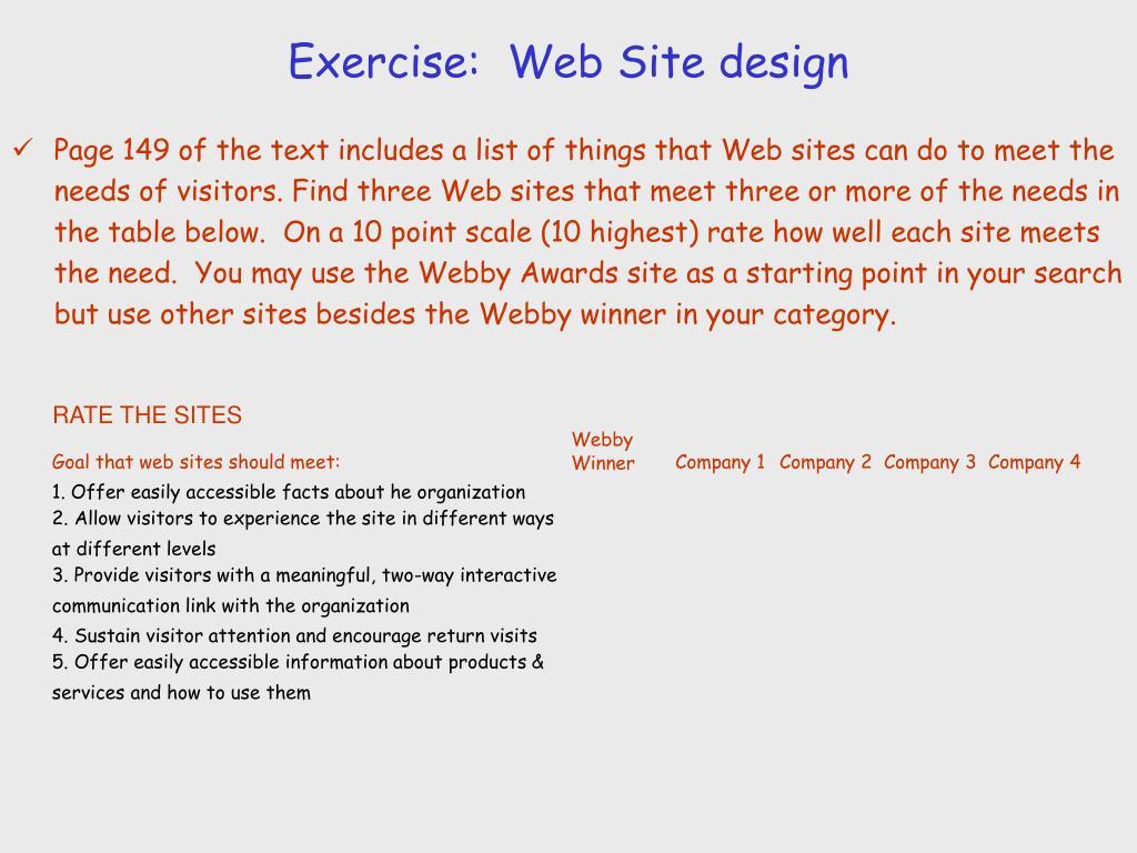 Exercise:  Web Site design