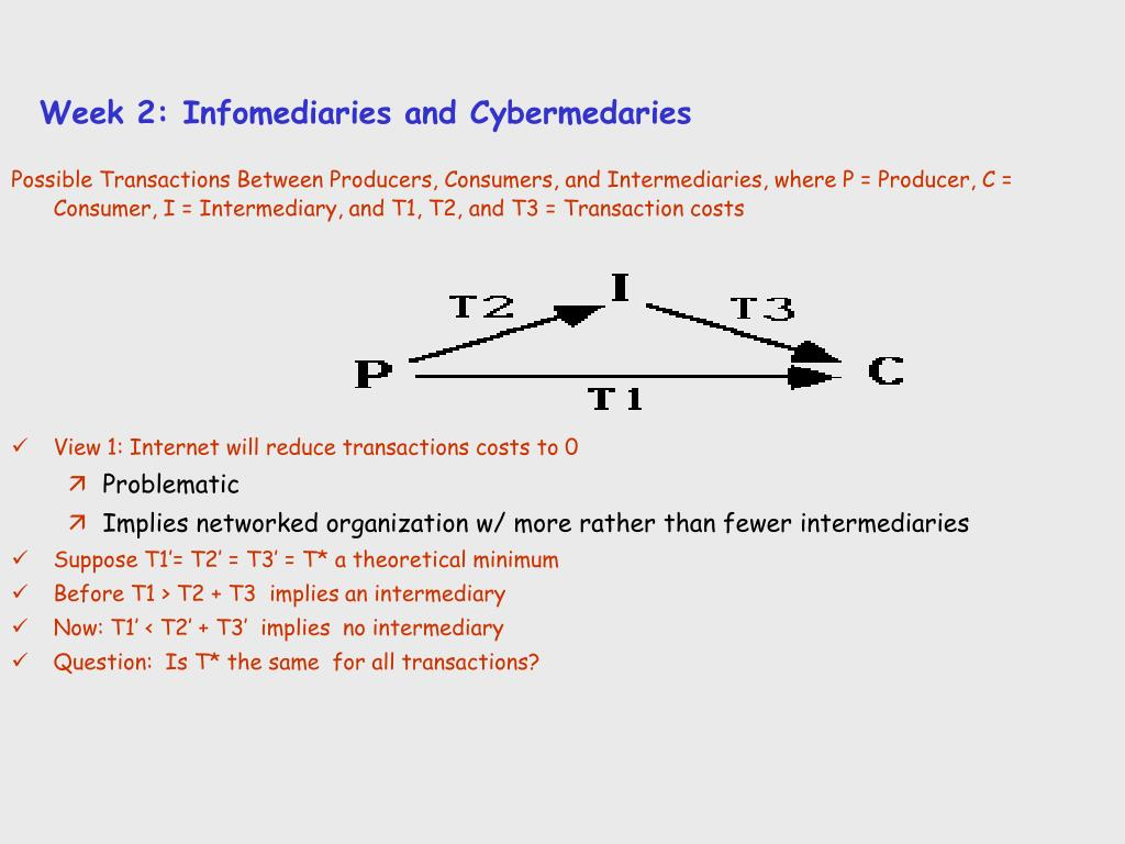 Week 2: Infomediaries and Cybermedaries