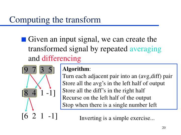 Computing the transform