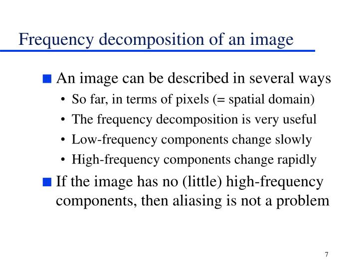Frequency decomposition of an image