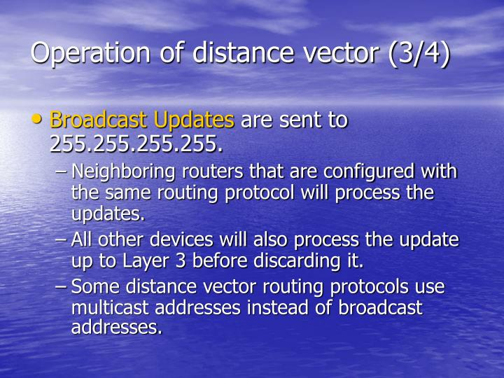 Operation of distance vector (3/4)