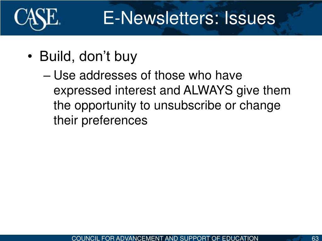 E-Newsletters: Issues