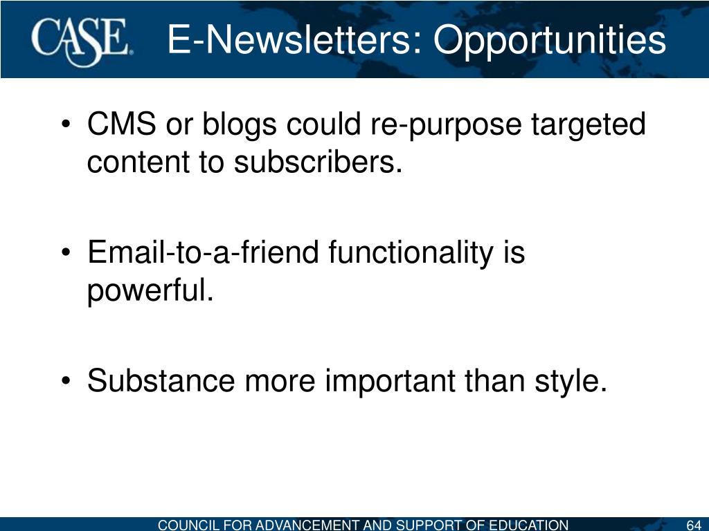 E-Newsletters: Opportunities
