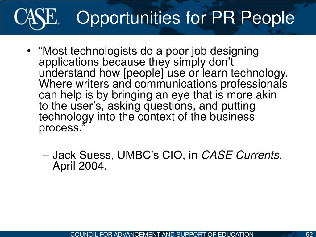 Opportunities for PR People