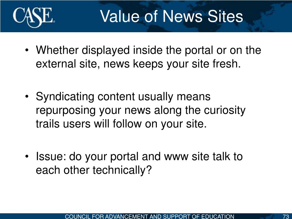 Value of News Sites