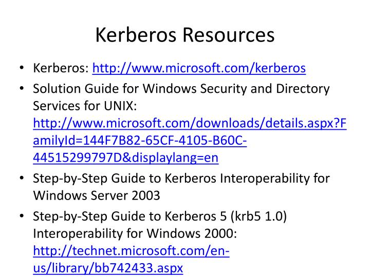 Kerberos Resources