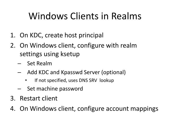 Windows Clients in Realms