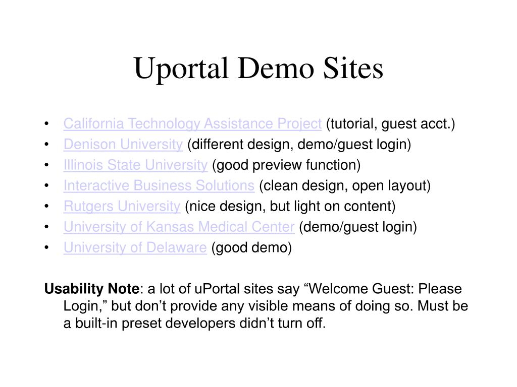 Uportal Demo Sites