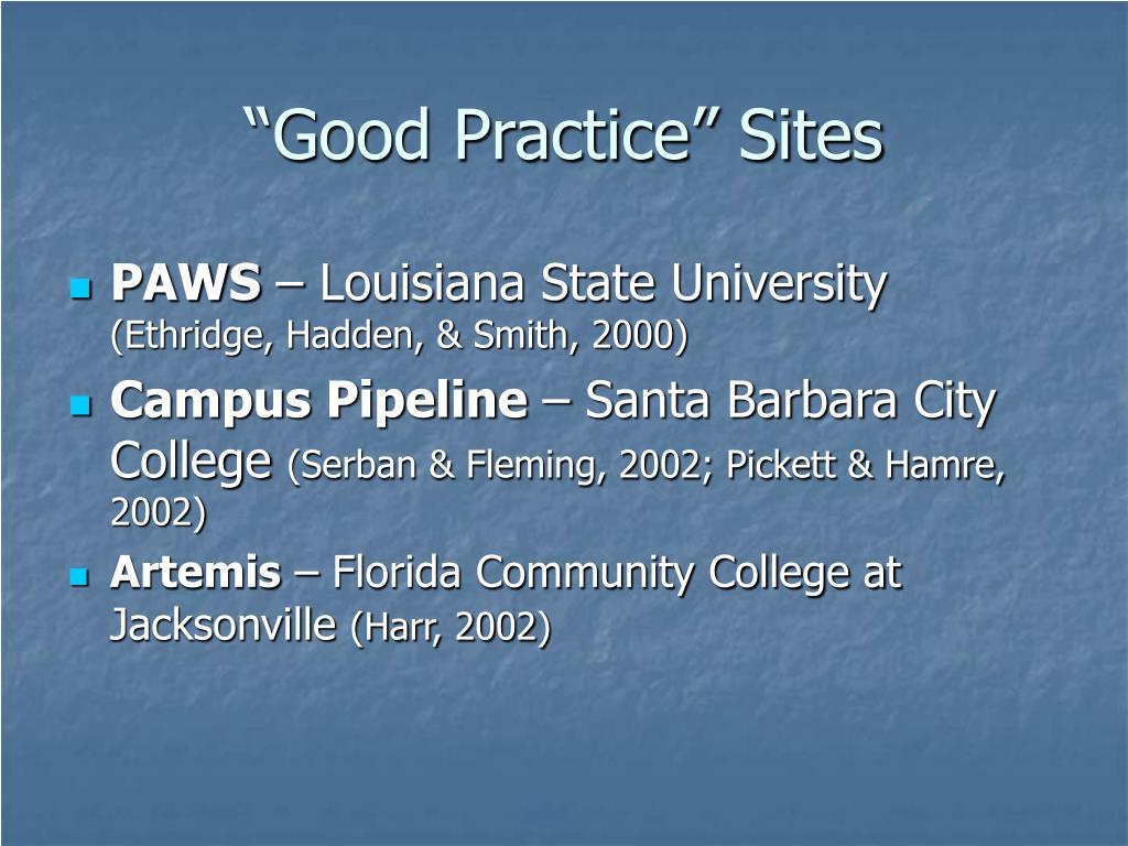 """Good Practice"" Sites"
