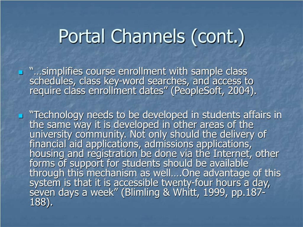 Portal Channels (cont.)