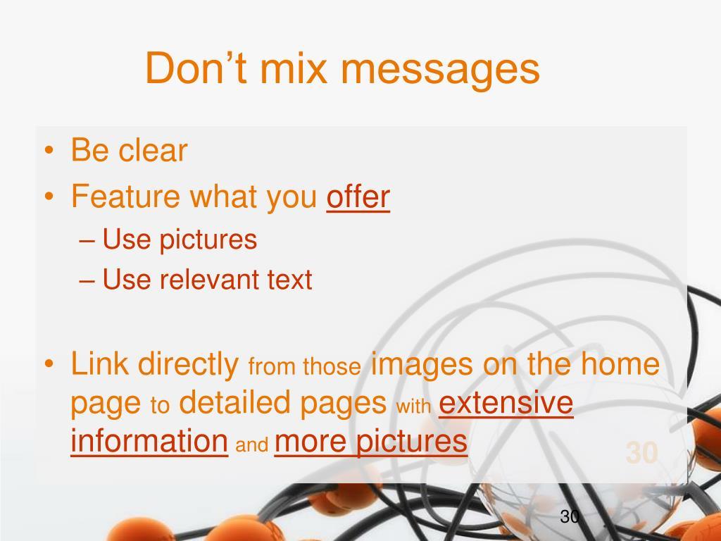 Don't mix messages