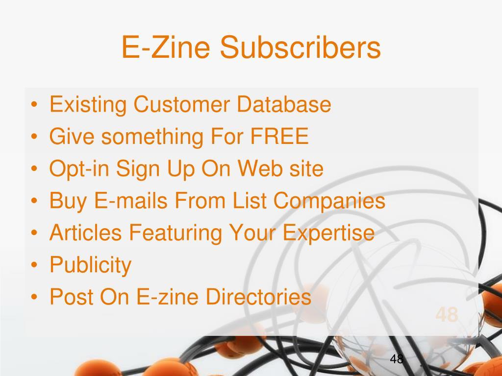 E-Zine Subscribers